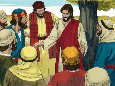 Jesus and His followers were on the way to Jerusalem but many were afraid. So Jesus took the 12 disciples to one side to explain what was about to happen. – Slide 1