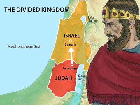 Nine years later King Ahab invited King Jehoshaphat to a feast in the capital city of his kingdom, Samaria. Many sheep and cattle were slaughtered for the occasion. – Slide 3