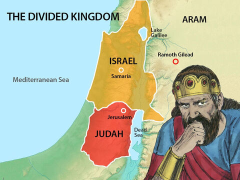 Ramoth Gilead was a city in the nation of Aram located on a mountain spur east of the Jordan river valley. Jehoshaphat replied, 'My people are your people, my horses are your horses but first we need to get God's advice.' – Slide 5