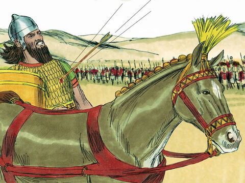 Ahab, in his disguise, thought he was safe, but an arrow shot at random hit him between the sections of his armour. All day long the battle raged, and the king was propped up in his chariot. The blood from his wound ran onto the floor of the chariot, and that evening he died. Ahab was taken back to Samaria. (His chariot was washed at a pool and dogs gathered to lick his blood, just as the prophet Elijah had prophesied when Ahab had earlier murdered Naboth and stole his vineyard - 1 Kings 21:24). – Slide 23