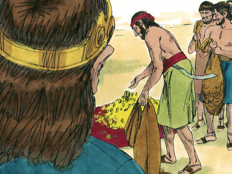 When Jehoshaphat became king, the people of Judah brought him gifts and he became a wealthy man. He decided to follow God's ways and obey His laws rather than worship idols. – Slide 2