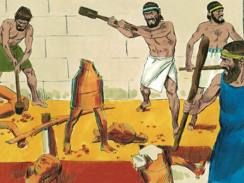 The high places, where people worshipped false gods and set up poles to the goddess Asherah, were destroyed. – Slide 3