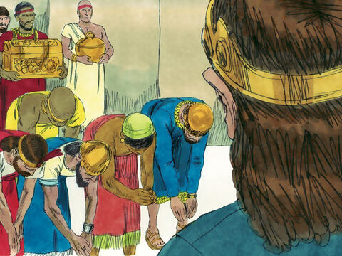 The fear of God also spread to nearby enemy nations. Some Philistines brought Jehoshaphat gifts and silver as a tribute. – Slide 7