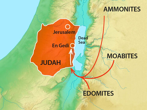 The Ammonites, Moabites and Edomites had joined forces and were already at En Gedi south of Jerusalem. – Slide 2