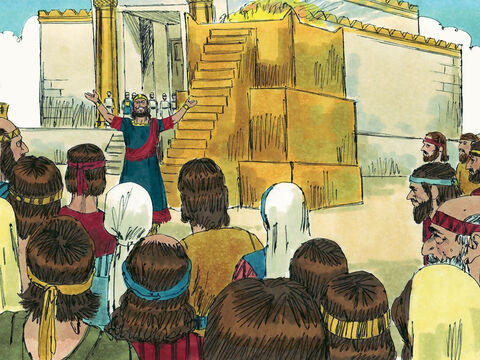 King Jehoshaphat stood up in the Temple courtyard and prayed, 'Lord, you are so powerful, so mighty. Who can stand against you? We believe that in a time of calamity such as war, disease, or famine, we can cry out to you to save us. We believe you will hear us and rescue us.' – Slide 5