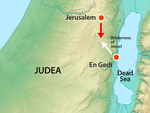 """""""Tomorrow march down against them and you will find them at the end of the gorge in the Wilderness of Jeruel. You will not have to fight this battle. Take up your positions, stand firm and see how God will deliver you.""""' – Slide 8"""