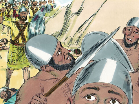 As they started singing, the Lord caused the enemy army to fight among themselves. The Ammonites and Moabites attacked the Edomites and killed them. Then the Ammonites and Moabites turned on each other. The battle was fierce and they destroyed each other. – Slide 12