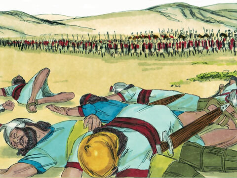 Just as God had promised this was the Lord's battle and they would not need to fight. – Slide 14