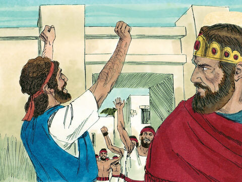 They returned to Jerusalem full of joy, with Jehoshaphat leading them. They marched into Jerusalem accompanied by a band of harps, lyres, and trumpets. They then proceeded to the Temple to give thanks to God. – Slide 17