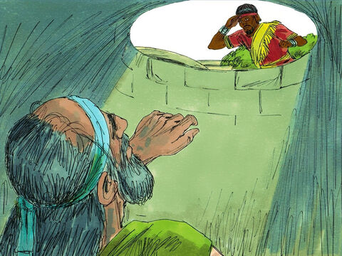 When Ebed-melech the Ethiopian, an important palace official, heard that Jeremiah was in the cistern, he rushed out to the Gate of Benjamin where the king Zedekiah was holding court. 'These men have done a very evil thing in putting Jeremiah into the cistern. He will die of hunger, for almost all the bread in the city is gone.' – Slide 9