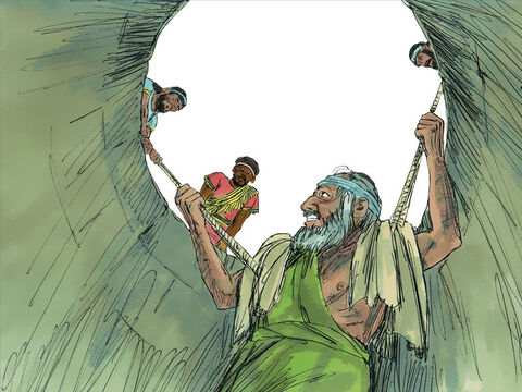 Zedekiah relented and commanded Ebed-melech to take thirty men and pull Jeremiah out before he died. Ebed-melech called down to Jeremiah, 'Use these rags under your armpits to protect you from the ropes.' Jeremiah was pulled out and returned to the palace prison. God told Jeremiah that Ebed-melech would be delivered when the city finally fell. – Slide 10