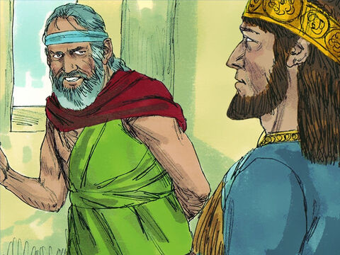 Some time later King Zedekiah secretly sent to Jeremiah to see what the future held. Jeremiah declared, 'Almighty God says if you will surrender to Babylon, you and your family shall live and the city will not be burned. 'If you refuse to surrender, this city shall be set afire by the Babylonian army and you will not escape.' Zedekiah listened but once again ignored God's advice. Jeremiah remained confined to the prison yard until the day Jerusalem was captured. – Slide 11