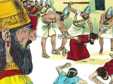 The Babylonian general took the most important priests and officials of the court and commanders of the army to Nebuchadnezzar's camp. There the Babylonians beat them to death. – Slide 16