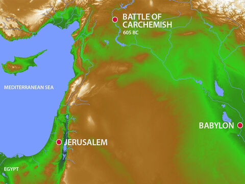 Three years after becoming king, Jehoiakim heard the news that the Egyptians had been defeated by the Babylonians at the Battle of Carchemish in 605BC. – Slide 10