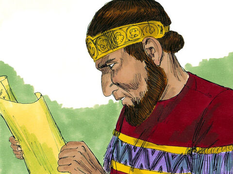 The scroll was taken to King Jehoiakim in the winter apartment of his palace. He had a fire burning to keep him warm. Jehudi began reading the scroll to the king. – Slide 14