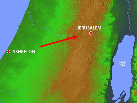 King Nebuchadnezzar defeated the Philistine city of Ashkelon and then headed towards Jerusalem. – Slide 17