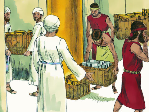 He paid the Babylonians tribute from the treasury and gave them valuable artifacts from the temple. Some of the royal family and nobility were handed over to the Babylonians as hostages. – Slide 19