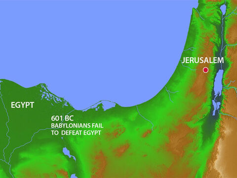 In 601 BC the Babylonians tried to invade Egypt and were beaten back. Against all the warnings of Jeremiah, King Jehoiakim switched allegiance back to the Egyptians. For three years the Babylonians did nothing – Slide 21