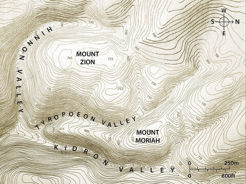 The three main valleys of Jerusalem. Topographic map based on an original by Balage Balogh/www.Archaeologyillustrated.com – Slide 2