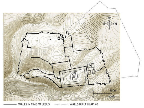 The main city walls of Jerusalem in the time of Jesus. Topographic map based on an original by Balage Balogh/www.Archaeologyillustrated.com – Slide 3