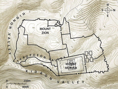 Jerusalem city walls, mountains and valleys. Topographic map based on an original by Balage Balogh/www.Archaeologyillustrated.com – Slide 5