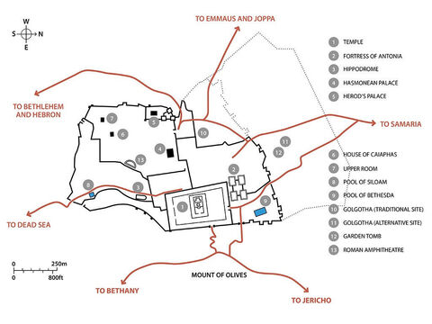 Key buildings and routes in Jerusalem that feature in the Biblical accounts of the life of Jesus. – Slide 11