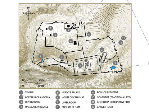 Key buildings in Jerusalem that feature in the Biblical accounts of the life of Jesus. Topographic map based on an original by Balage Balogh/www.Archaeologyillustrated.com – Slide 12