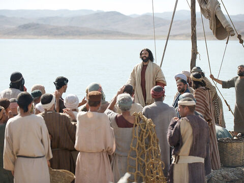 The crowd was waiting for Jesus when he landed. – Slide 3