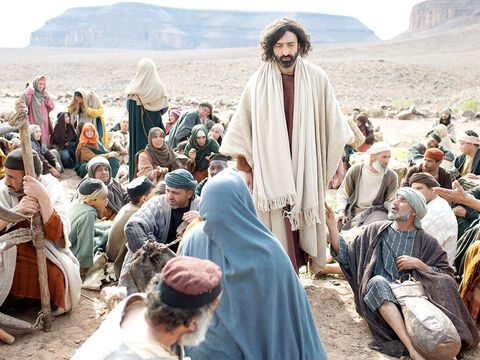 'Tell everyone to sit down in groups of around fifty,' Jesus ordered.  – Slide 12