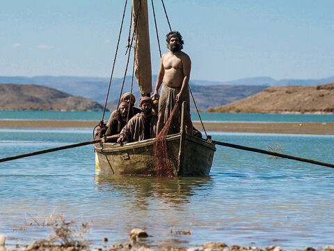 Jesus said, 'Throw your net on the right side of the boat and you will find some.' – Slide 5