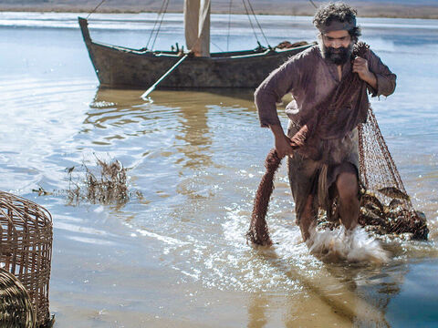 Jesus said, 'Bring some of the fish you have just caught.' So Simon Peter climbed back into the boat and dragged the net ashore. – Slide 11