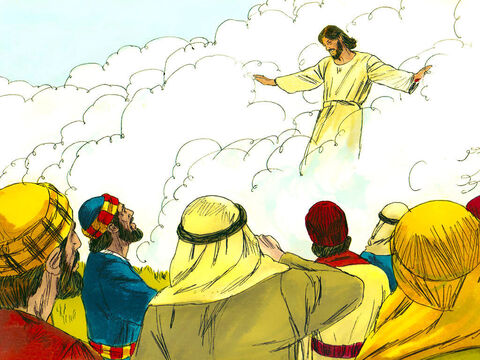 After Jesus said this, He was taken up before their very eyes, and a cloud hid him from their sight. – Slide 4