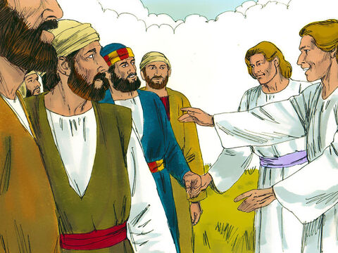 As the disciples gazed upwards, suddenly, two men dressed in white stood beside them. 'Men of Galilee, why do you stand here looking into the sky?' they asked. 'This same Jesus, who has been taken from you into heaven, will come back in the same way you have seen him go into heaven.' – Slide 5