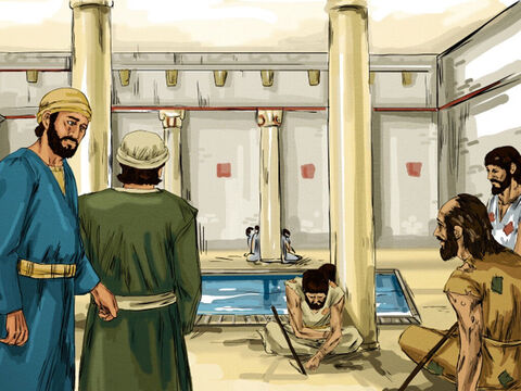 In Jerusalem there was a pool called Bethesda where disabled people gathered. Many were blind, lame or paralysed. – Slide 1