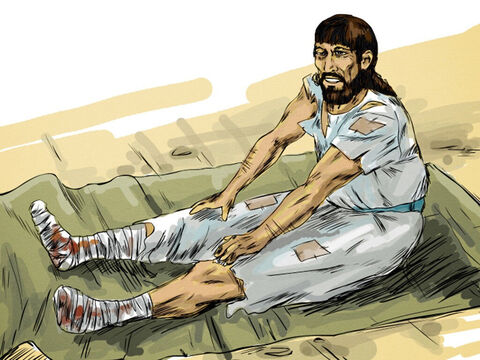 On the Sabbath day of rest Jesus went to the pool and saw a man who had been an invalid for 38 years. 'Do you want to get well?' Jesus asked. – Slide 3