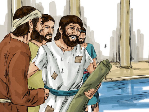 At once the man was cured. He picked up his mat and walked. But when he looked for the man who had healed him, He had slipped away into the crowd. – Slide 5