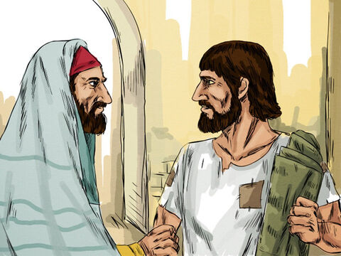 When the Jewish leaders saw the healed man carrying his mat on the Sabbath day of rest they shouted, 'The law forbids you to carry your mat on the Sabbath.' The man explained that the man who had healed him had commanded him to pick up his mat and walk. When they asked who it was who had healed him he explained he did not know. – Slide 6