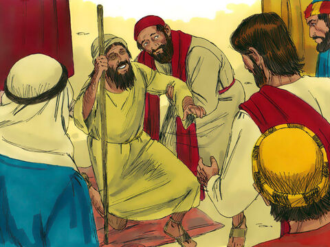 Jesus stopped and told the people to bring the blind man to Him. When the man was near, Jesus asked, 'What do you want Me to do for you?' – Slide 5