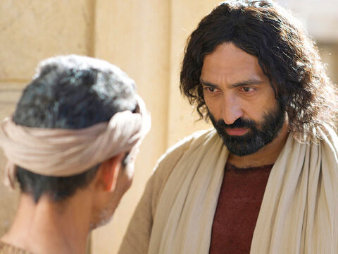 When Jesus heard the man had been thrown out he went looking for him. 'Do you believe in the Son of Man?' Jesus asked. 'Who is he, sir?' the man asked. 'Tell me so that I may believe in him.' – Slide 21