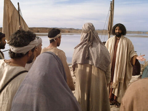 One day, as Jesus was standing by Lake of Galilee, crowds gathered to hear Him teach about God. So many wanted to hear what He had to say they pressed closer and closer to the shore. – Slide 1