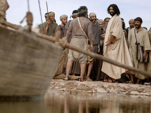 At the water's edge were two boats, left there by the fishermen, who were washing their nets. Jesus got into one of the boats, belonging to Simon (Peter), and asked him to put out a little from the shore. – Slide 2