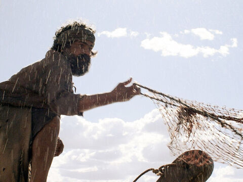 Peter cast his net and to his amazement they caught such a large number of fish that their nets began to break. – Slide 6