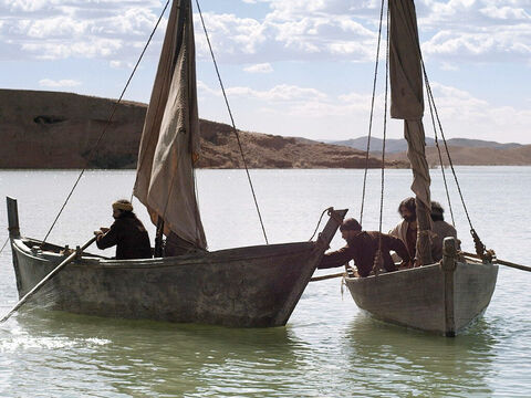 So they signalled their fishing partners James and John, the sons of Zebedee, in the other boat to come and help them. – Slide 7