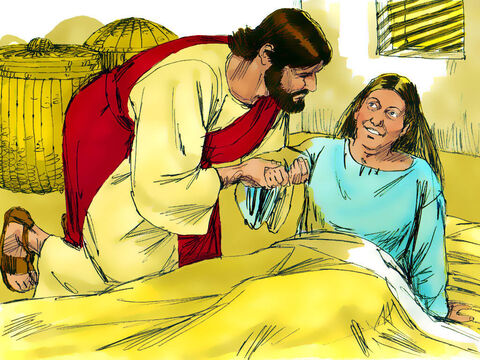 Jesus bent over her and rebuked the fever, and it left her. She got up at once and prepared a meal for them all. – Slide 8