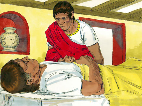 A Roman centurion, had a servant who had become paralysed, in terrible pain and close to dying. – Slide 1