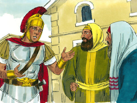 The Centurion went to some respected Jewish leaders in Capernaum and asked them to ask Jesus to come and heal his servant. – Slide 3