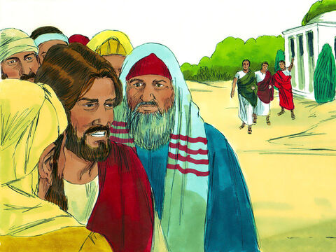 Jesus went towards the Roman Centurions house. Jews would not normally go into the house of a non-Jew. Just before Jesus came to the house the Centurion sent some friends with a message for Jesus. – Slide 5