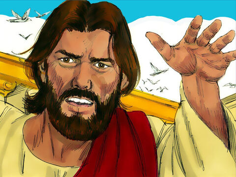 Jesus drove out all who were buying or selling and stopped anyone carrying goods through the Temple courts. – Slide 4