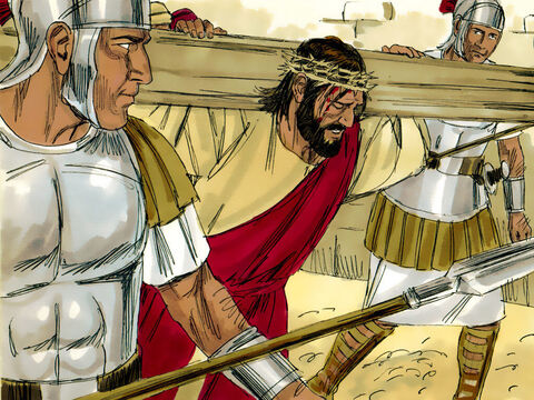Roman soldiers made Jesus carry His own cross. Two criminals sentenced to death by crucifixion were forced to do the same. They were led out of the city to be crucified. A large crowd followed, including women who mourned and wailed for Jesus. – Slide 1