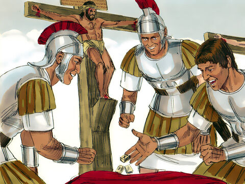 The soldiers divided Jesus' clothes among them. The inner garment, woven in one piece without seams, was too valuable to divide so they cast lots for it. It fulfilled the prophecy of Psalm 22:18 'They divided my clothes among them and cast lots for my garment.' – Slide 4